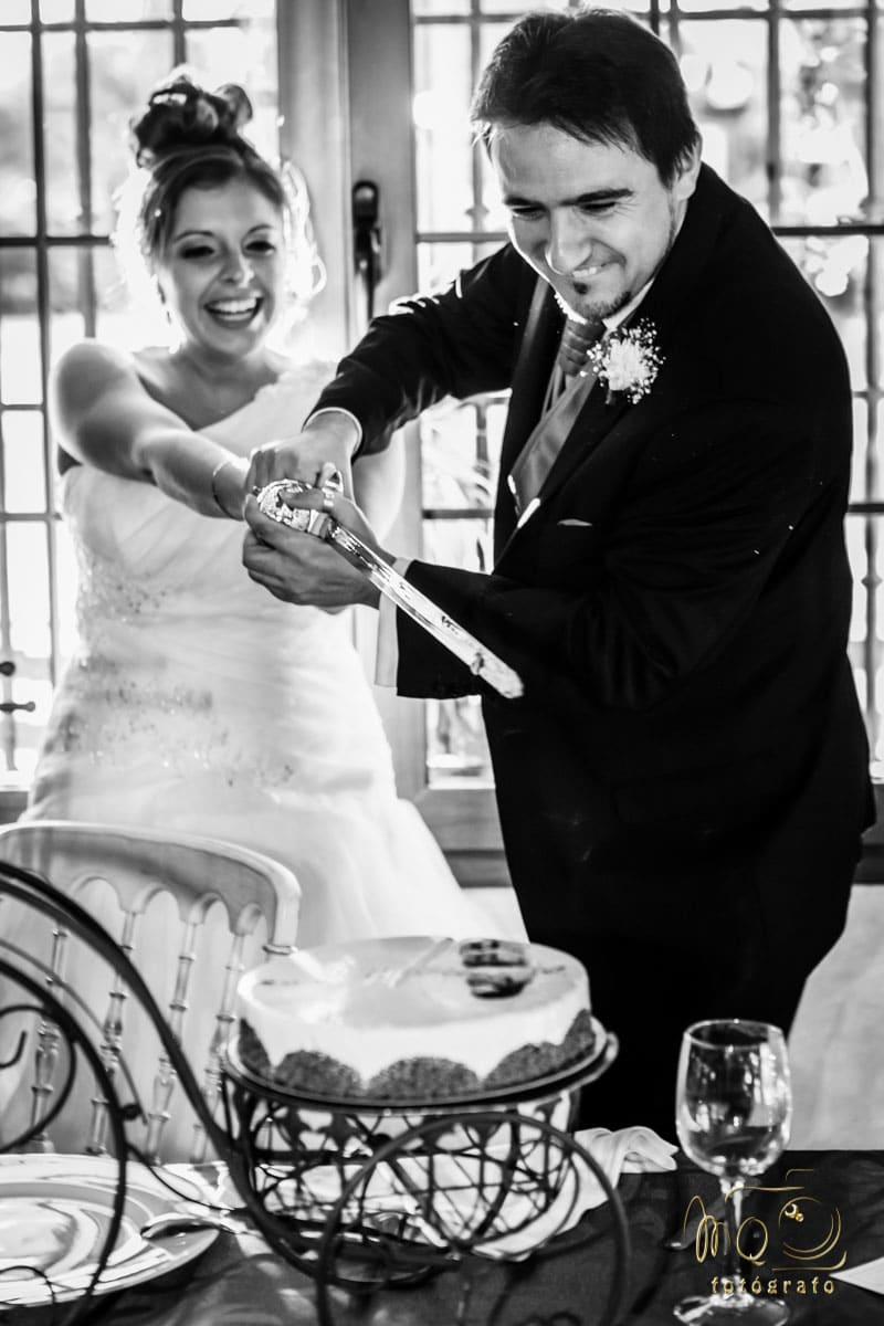 Novios cortando la tarta con una espada, muy sonrientes