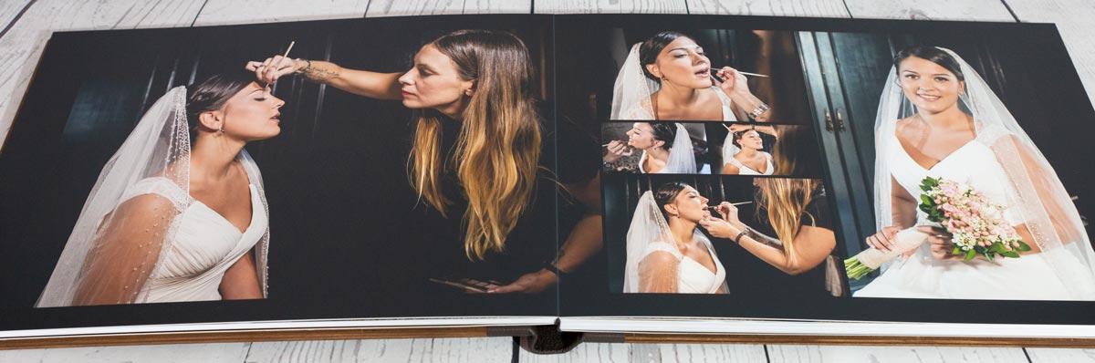 Pliego de álbum de boda abierto